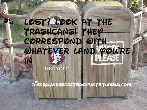 """""""Lost? Look at the trashcans! They correspond with whatever land you're in"""" #disneyland"""