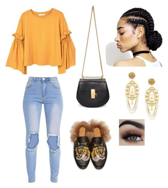 """""""Untitled #240"""" by savvyjazzee on Polyvore featuring MANGO, Gucci, Chloé and Dolce&Gabbana"""