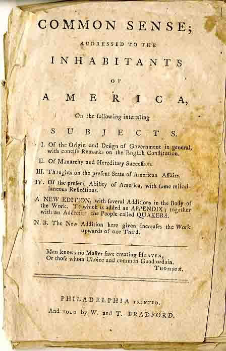 thomas paine and common sense essay Common sense written by thomas paine in 1775–1776 was a pamphlet written that inspired the early colonists of the thirteen colonies to declare and fight.