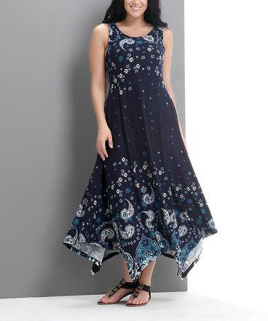 Navy Paisley Scoop Neck Handkerchief Dress - Plus by Reborn Collection #zulily #zulilyfinds