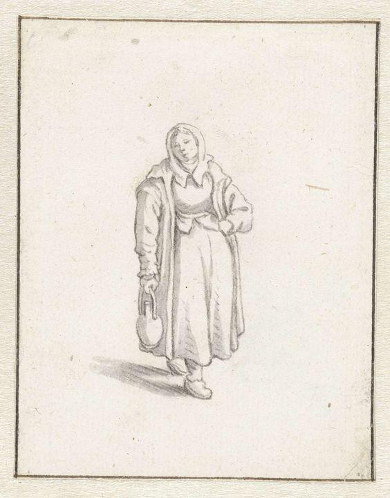 Herman Saftleven | Staande vrouw met een kruik, Herman Saftleven, 1619 - 1685 |