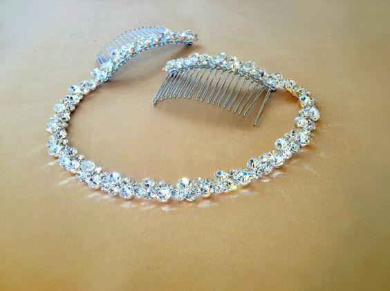 Strass Braut Headpiece Crystal Hair Tiara von FashionaryDesign
