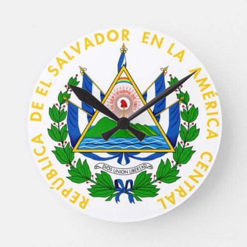 El Salvador Emblem Flag Coat Of Arms Symbol Round Clock Zazzle Com In 2020 Coat Of Arms Emblems Symbols