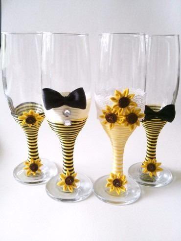 Copas decoradas para bodas matrimonio cumplea os girasoles - Copas decoradas con velas ...
