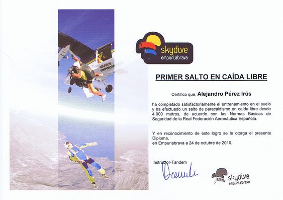 2010 Salto en Tandem Paracaidas por Familia Empleados con Alejandro Perez Irus AlejandroPI Diploma Deportes de Riesgo y Actividades Diferentes