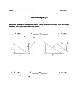 Similar Triangles Quiz/Worksheet | Triangles, The Triangle and Quizes