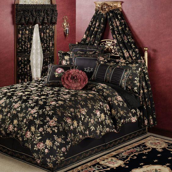 interior design black comforter and floral on pinterest. Black Bedroom Furniture Sets. Home Design Ideas