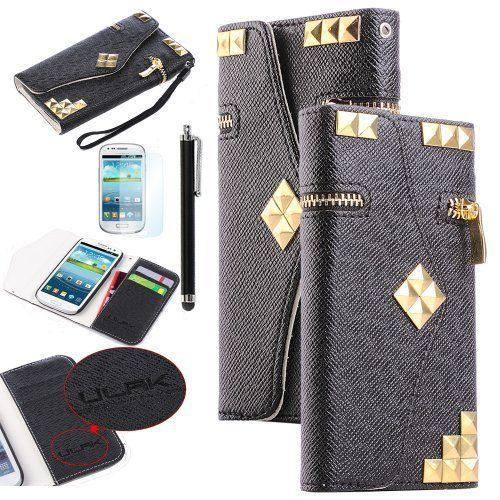 Pandamimi ULAK(TM) Black PU Leather zipper Studded Wallet Wristlet Flip Case Cover for Samsung Galaxy S3 i9300, I747, L710, T999,i535 - AT&T, T Mobile, Sprint, Verizon, U.s.cellular with Screen Protector+ Black Stylus by ULAK, http://www.amazon.com/dp/B00ESZSSF2/ref=cm_sw_r_pi_dp_QOnGsb06440EY