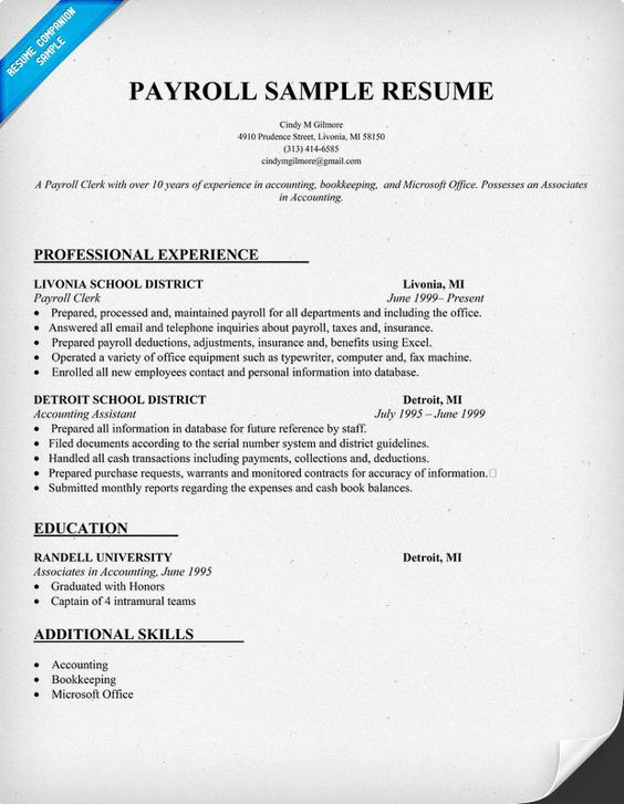 Payroll Resume Sample (resumecompanion) Resume Samples - accounting bookkeeper sample resume