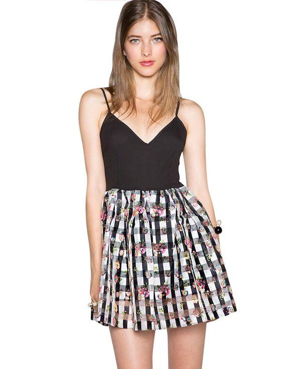 Black Organza Floral Gingham Dress - Cute Skater Dress -$52
