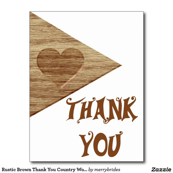 Rustic Brown Thank You Country Wood Heart Postcard