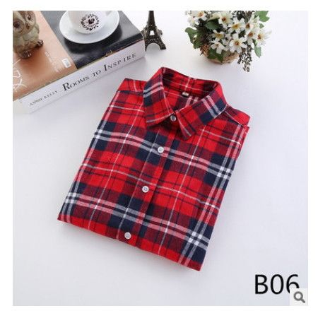 female new fashion long sleeve college style casual plaid shirts / women's pure cotton large yard slim sanded shirt