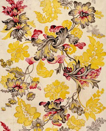 Design for woven silk, by Anna Maria Garthwaite (1690-1763). Watercolour on paper. Spitalfields, London, England, c.1742.