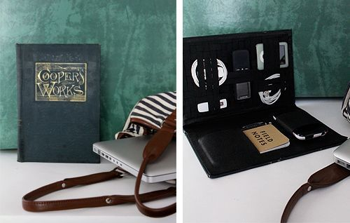 DIY Vintage Book to Travel-Tech Organizer