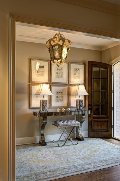 Fantastic entry hall love the bench gallery prints and - Lighting ideas for halls and foyers ...