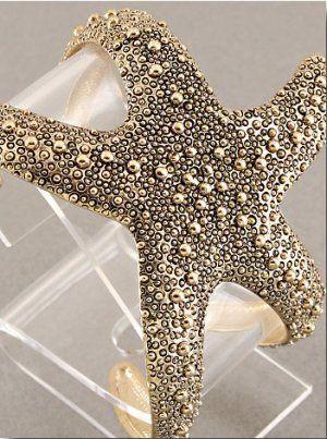 Starfish Cuff Bracelet Antique GOLD Statement Wrap Bangle Star Fish