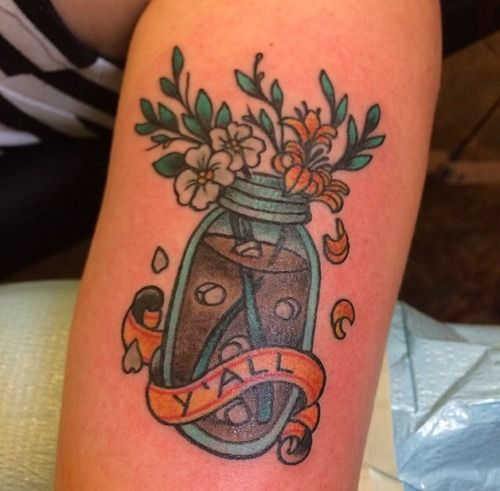 Sweet tea and Carolina love! by Jenn Small who was guest spotting at High Street Tattoo in Columbus, Ohio