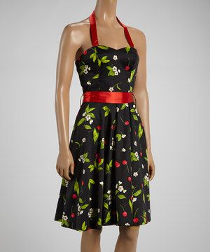 Look what I found on #zulily! HEARTS & ROSES LONDON Red & Black Cherry Halter Dress by HEARTS & ROSES LONDON #zulilyfinds