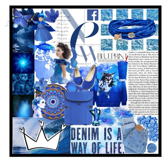 """Everything blue"" by migle-k ❤ liked on Polyvore featuring art, outfit, Blue and magazine"