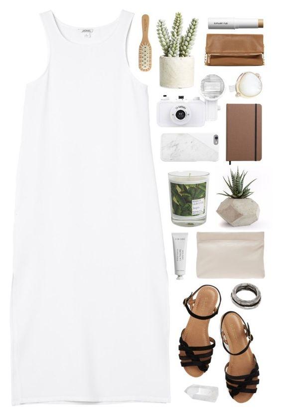 """White Dress"" by vera-ush ❤ liked on Polyvore featuring Monki, Shinola, Jamie Joseph, Allstate Floral, Maison La Bougie, Acne Studios, Bass, Emanuele Bicocchi, Mapleton Drive and Native Union"