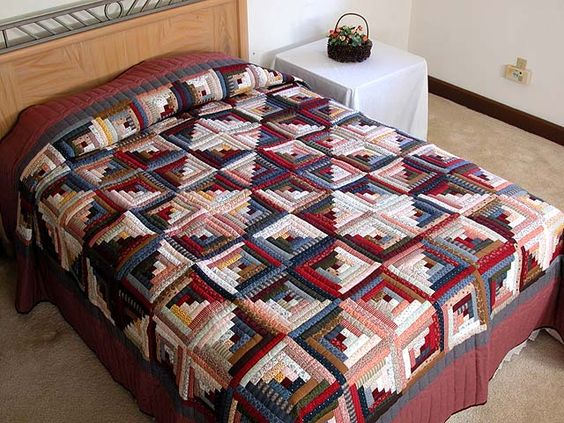 Log Cabin Quilt -- terrific specially made Amish Quilts from Lancaster (hs1087)