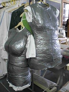 Brilliant!!!  DIY dress form of yourself with duct tape. Screw the expensive mannequin! :)