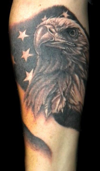 Black and grey eagle rose flag tattoos google search for Black eagle tattoo shop