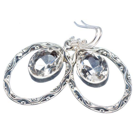 """White Quartz 925 Sterling Silver Earrings 1 1/2"""" EARR321654"""