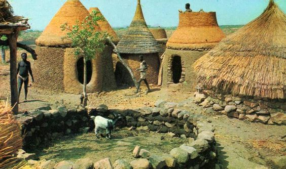 Africa | Typical homestead from the north of Cameroon.  1972.  || Scanned postcard.  Published by Hao.: