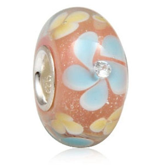 Glass Charm Spring Flowers