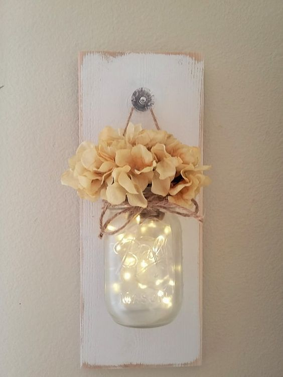 Lighted Mason Jar Sconce Mason Jar Wall Decor Mason Jars
