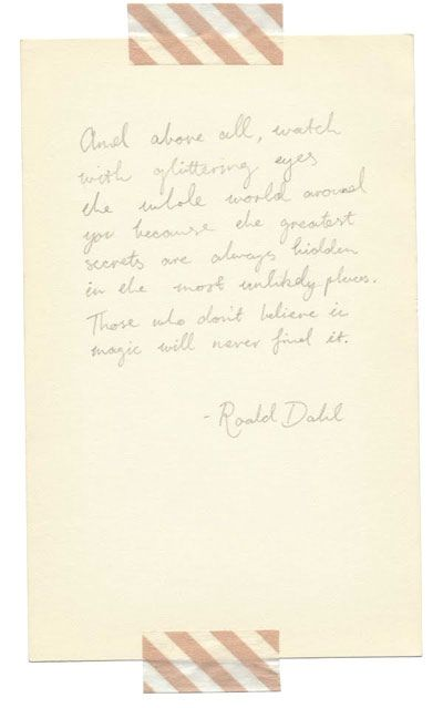 A letter from Roald Dahl.