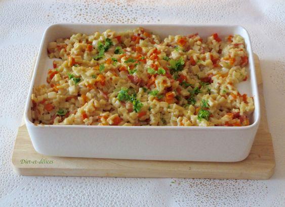 Gratin de crozets aux carottes, bacon et cancoillotte : Diet & Délices - Recettes dietétiques