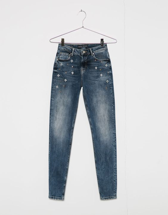 Floral and jewel super skinny jeans. Discover this and many more items in Bershka with new products every week