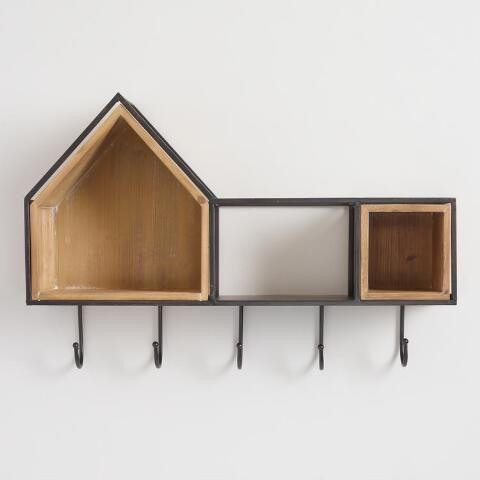Birdhouse Cubby Wall Shelf With Hooks Wall Shelf With Hooks Wall Shelves Shelves
