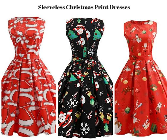 Sleeveless Christmas Print Dresses