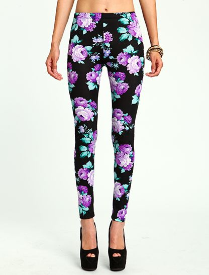 Purple Peony Print Leggings (though I doubt I would pair them with a belly shirt :) ---   http://tipsalud.com   -----