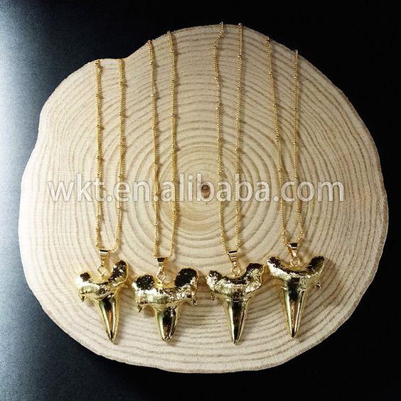 WT-N486 Großhandel voll Gold galvanisch schönen Hai Zähne Halskette, Mode…