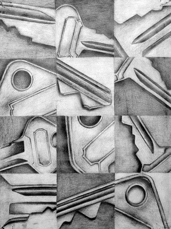 like for maybe O'Keeffe drawing. Find an object and have to re-position and draw different elements.: