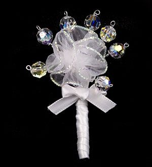 Swarovski Crystal and Ribbon Flower Boutonniere (Single Flower) @ Brilliant Wedding Jewelry