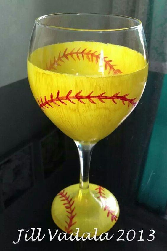 Softball wine glass