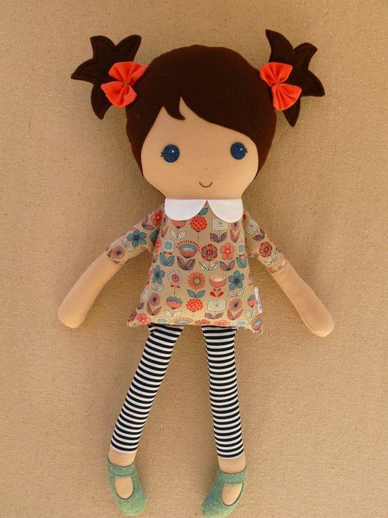 Custom Listing for Anna  Fabric Doll Rag Doll Brown by rovingovine