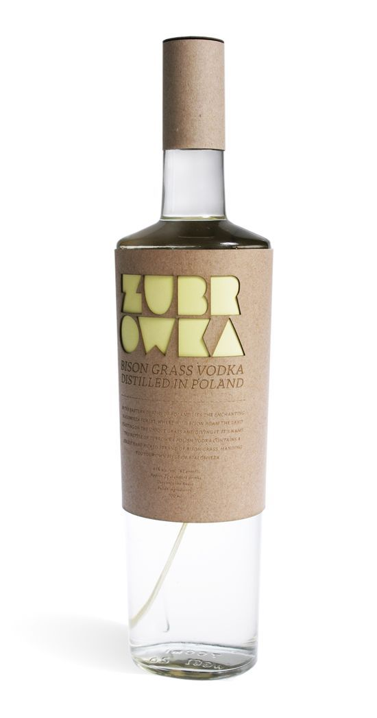 """""""This unique brand of Polish Vodka carries a herb/organic flavour due to the use of Bison grass within each bottle. The Bison roam the Bialoweiza forest in Poland and due to their weight, leave unique bold shaped footprints through the dirt - these shapes acted as inspiration for the bold font I have created for the label name. When people think of Poland they usually associate the country with the war and as traditional - this new/fresh vodka label moves away from that notion and manifests…"""