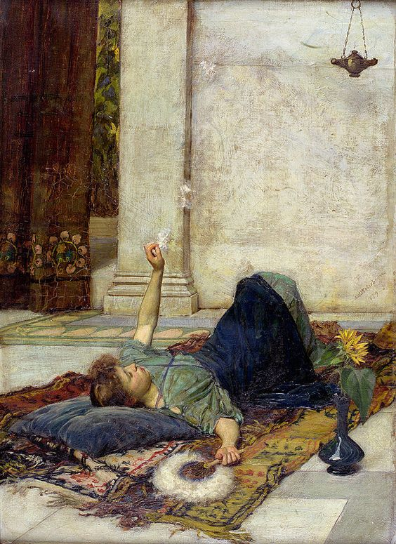 """oldpainting: """"John William Waterhouse """"Dolce Far Niente"""" 1879 John William Waterhouse (1849-1917) English Pre-Raphaelite painter. Oil on canvas Private collection """""""