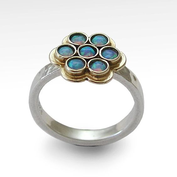 Gemstones ring, Sterling silver and yellow gold ring, flower ring set with blue opal stones, simple two tone ring - Good times.