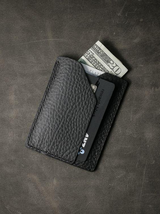 "BAS & LOKES - ""Rex"" Matte Black Pebbled Handmade Slim Leather Wallet -"