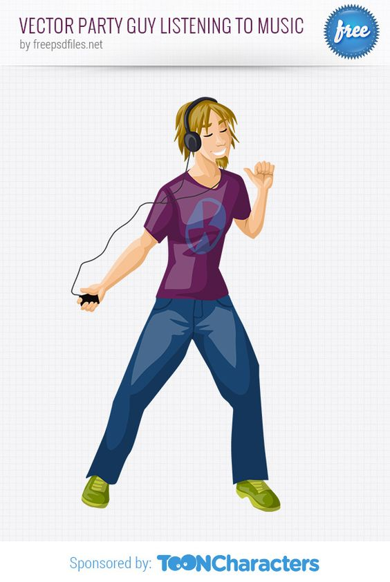 Free Vector Party Guy Listening to Music (2.86 MB) | vectorcharacters.net