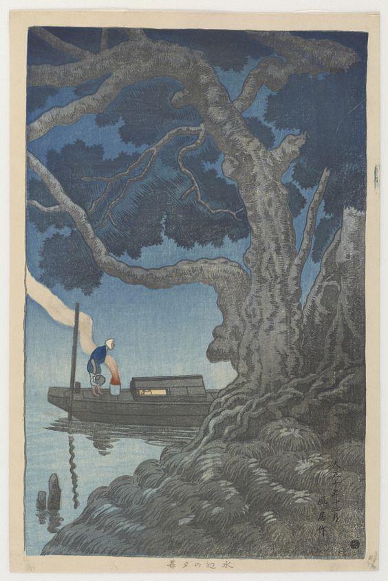 Evening At River's Side  Type     Woodblock print  Maker(s)     Artist: Yanagisawa Funyo  Historical period(s)     Taisho era, 1921.12