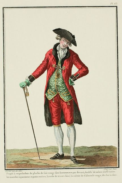 Galerie des Modes, 17e Cahier, 5e Figure  Hooded frock coat of red silk plush without buttonholes in front, lined in the same material in black.  The cuffs and shoes are black, the vest is of chiné tricot, the breeches are of red Calamanco, the stockings are ribbed. (1779)