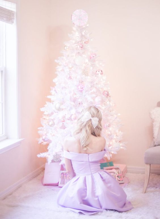 off the shoulder dress, white christmas tree, pastel christmas, pastel christmas decor, kate spade glitter heels, slmissglam makeup brushes, hair bow, pink ornaments